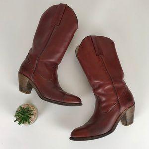 Frye Cowboy Boots 7100 Burnt Cherry Western